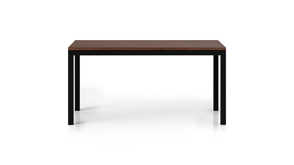Parsons Walnut Top/ Dark Steel Base 60x36 Dining Table