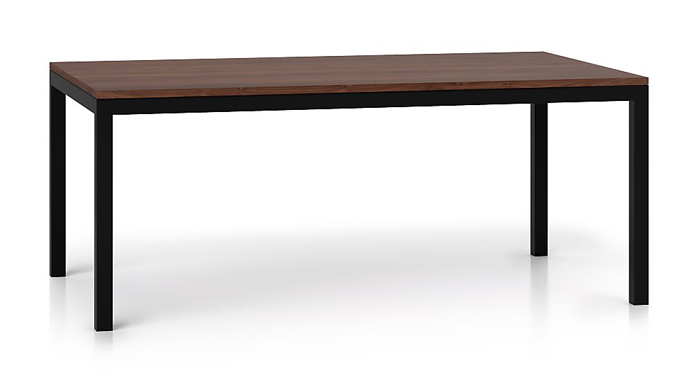 Parsons Walnut Top/ Dark Steel Base 72x42 Dining Table - Image 1 of 6