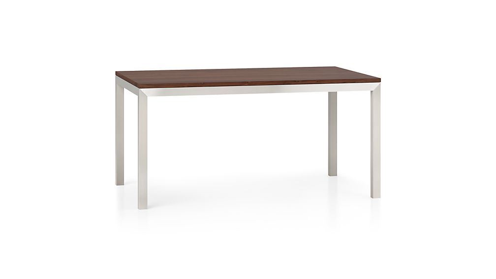 Parsons Walnut Top/ Stainless Steel Base 72x42 Dining Table