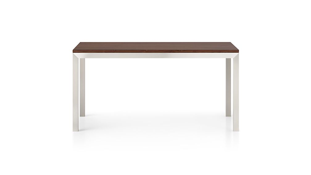 Parsons Walnut Top/ Stainless Steel Base 48x28 High Dining Table