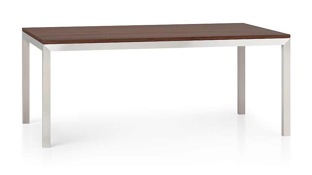 Parsons Walnut Top/ Stainless Steel Base 72x42 Dining Table - Image 1 of 6