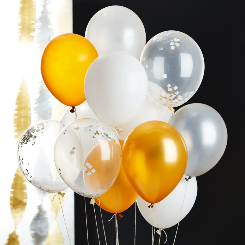 "Party 11"" Balloons with Confetti, Set of 3"