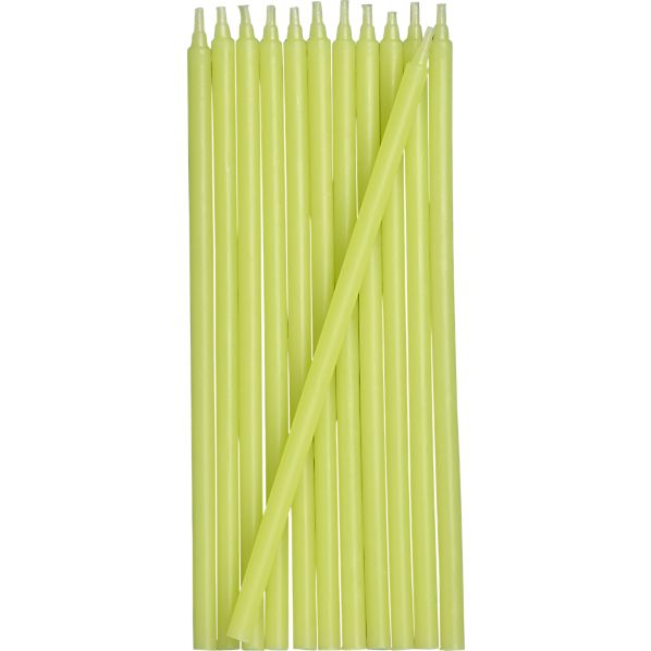 Set of 12 Green Party Candles