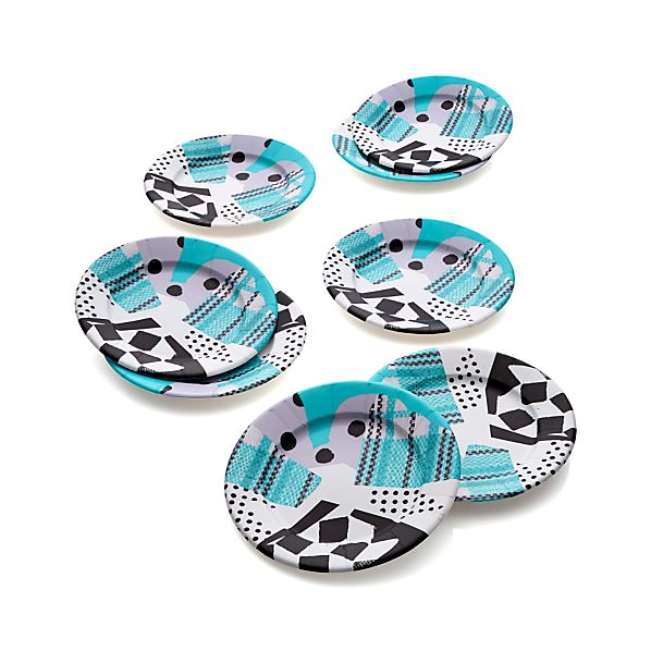 "Set of eight Party Collage 8"" Paper Plates"