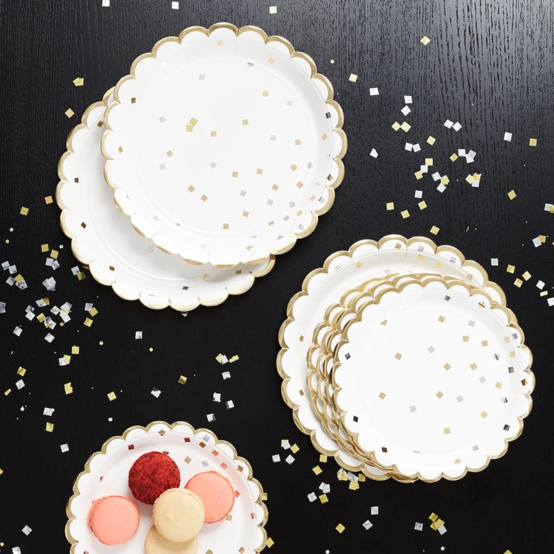 Party Confetti Paper Plates, Set of 8