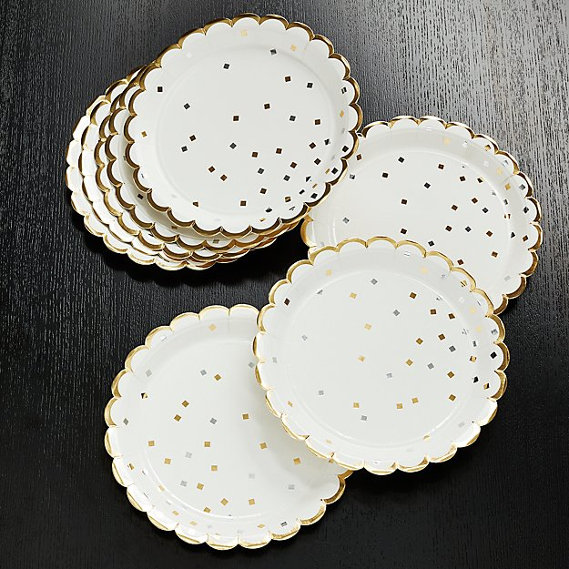 Party Confetti Large Paper Plates, Set of 8