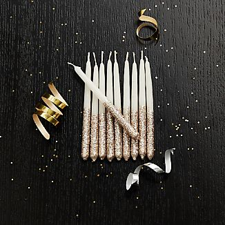 Party Glitter Wish Candles, Set of 10