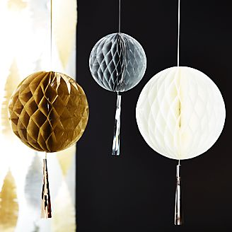 Party Honeycomb Balls with Tassels, Set of 3