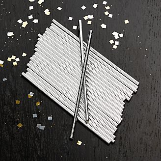 Party Silver Foil Straws, Set of 24