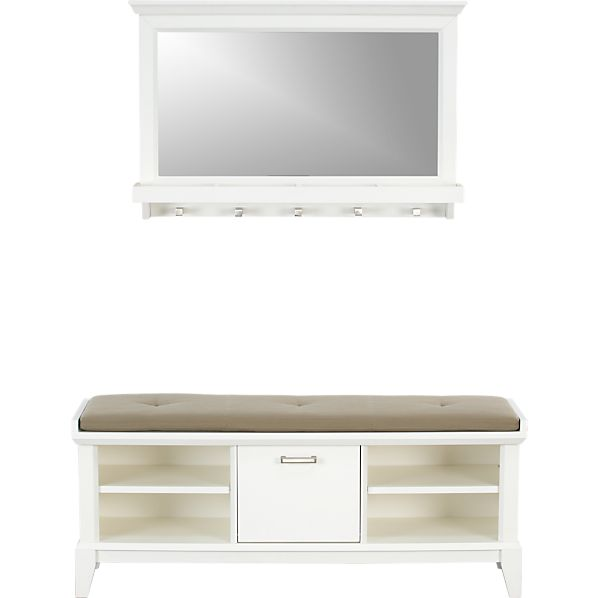 Paterson White Bench with Cushion and Mirror