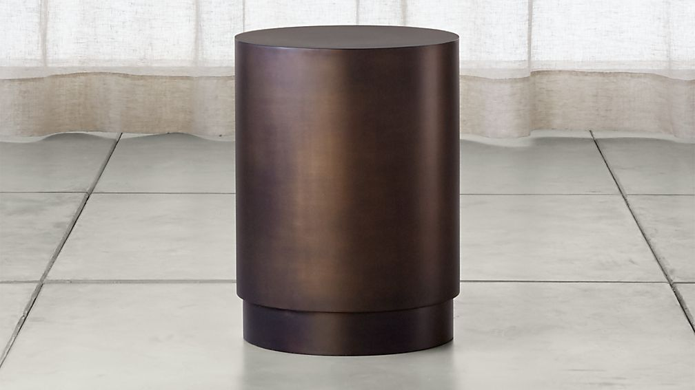 Patina Bronze Drum Table - Image 1 of 7