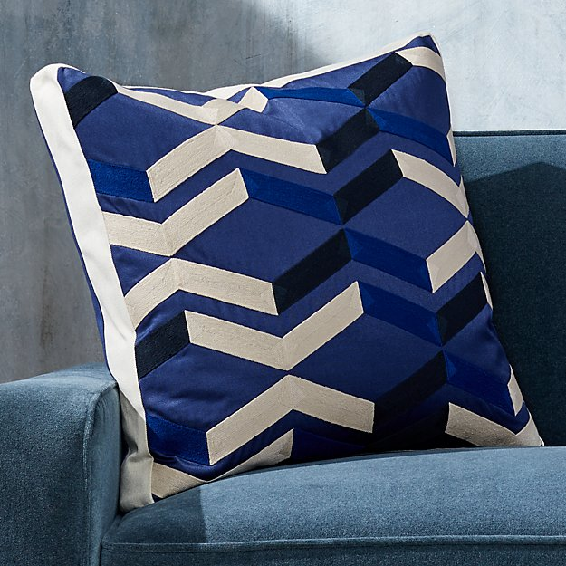 """Pattern Blue Box Pillow with Feather-Down Insert 20"""" - Image 1 of 8"""