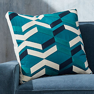"""Pattern Teal Box Pillow with Feather-Down Insert 20"""""""