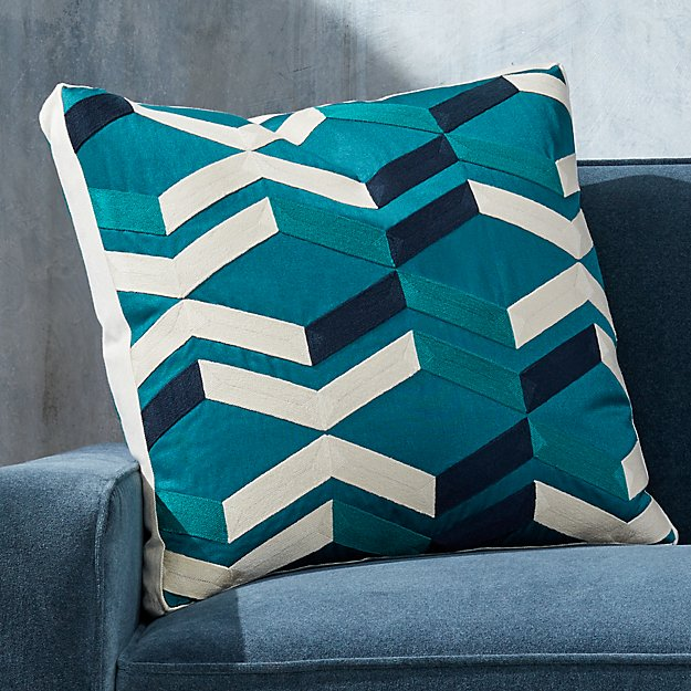 """Pattern Teal Box Pillow with Feather-Down Insert 20"""" - Image 1 of 7"""