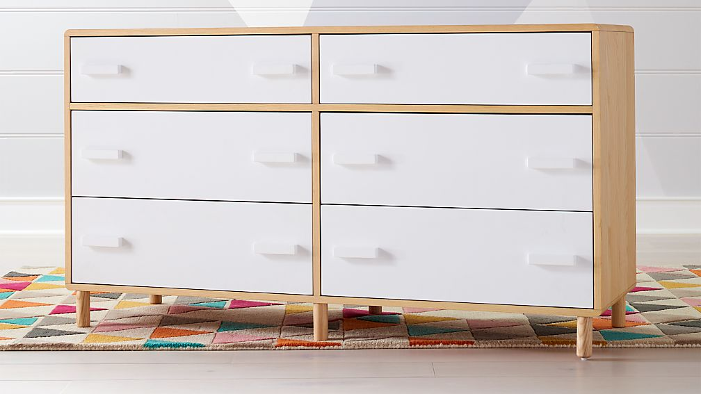 Kids Paxson Wide White Dresser - Image 1 of 8