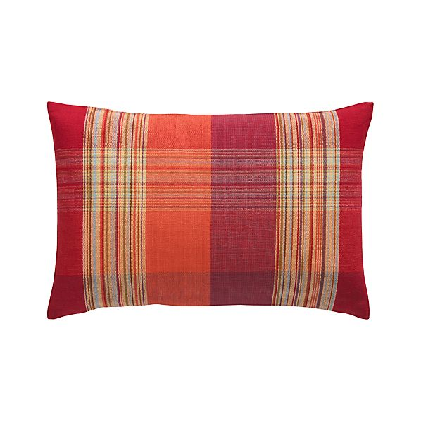 "Peabody Plaid 24""x16"" Pillow with Feather-Down Insert"