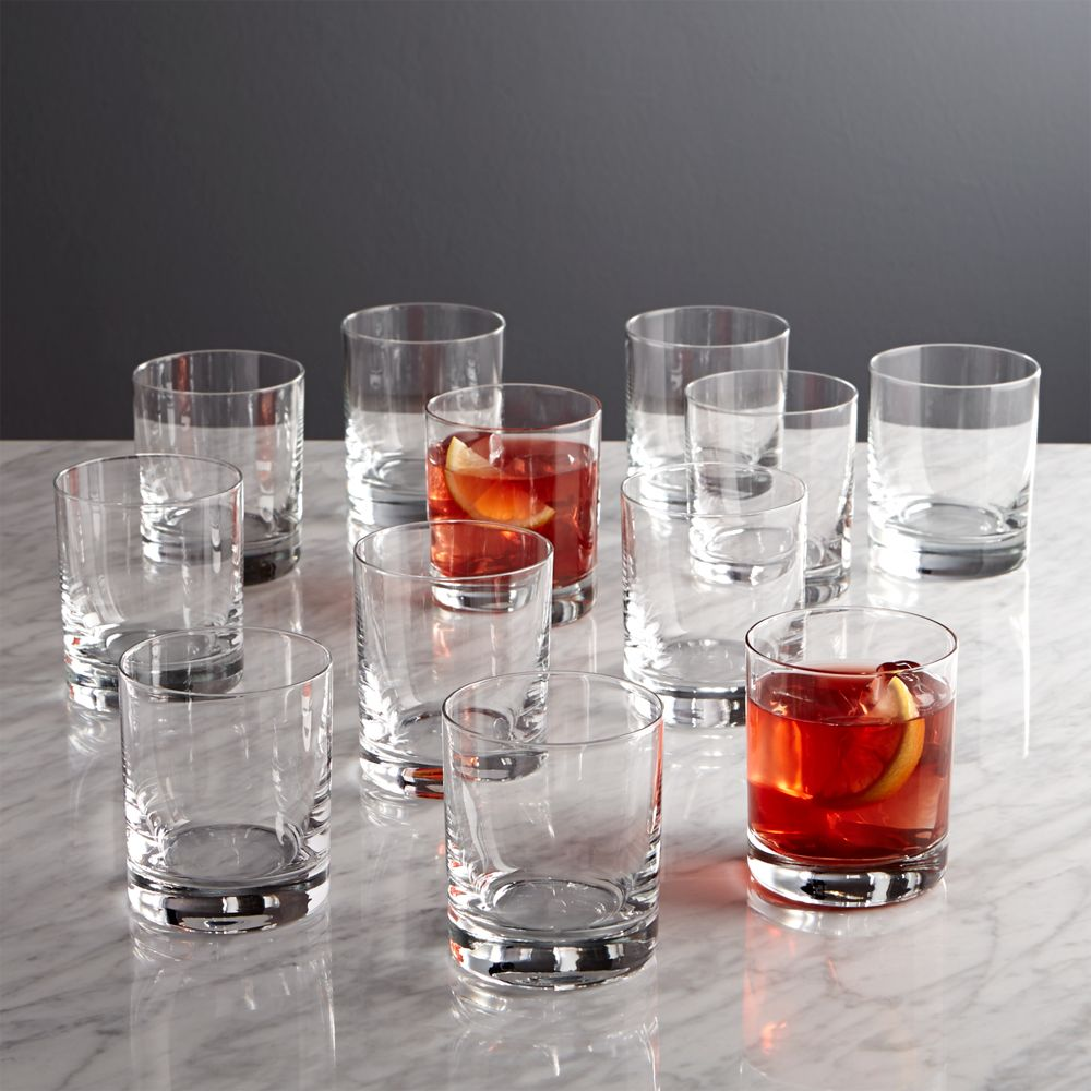 Set of 12 Peak Double Old-Fashioned Glasses - Crate and Barrel