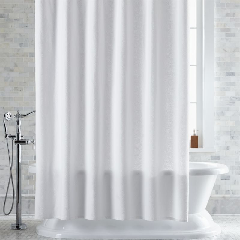 Pebble Matelassé White Shower Curtain | Crate and Barrel