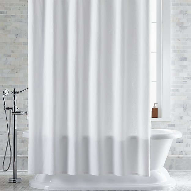 Pebble Matelasse White Shower Curtain | Crate and Barrel