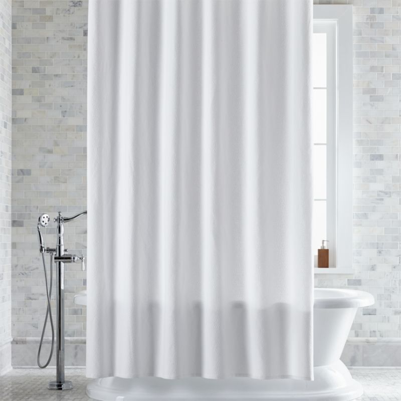 Pebble Matelassé White Extra-Long Shower Curtain + Reviews | Crate ...