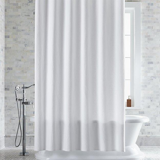 Pebble Matelasse White Extra Long Shower Curtain
