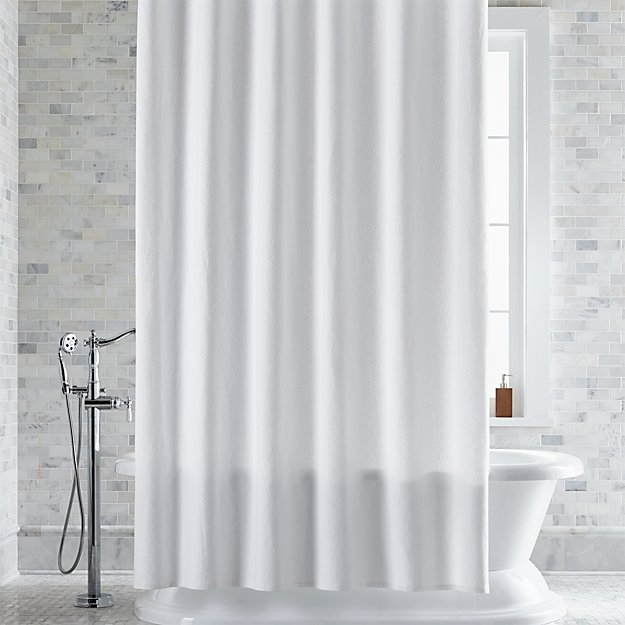 Pebble Matelassé White Extra-Long Shower Curtain | Crate and Barrel