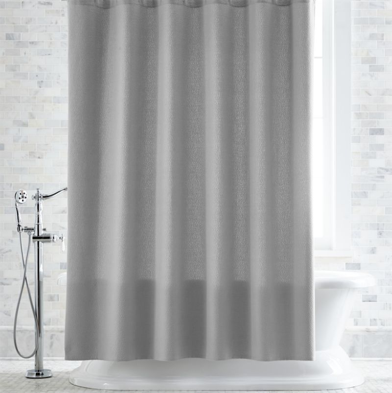 Pebble Matelassé Grey Shower Curtain + Reviews | Crate and Barrel