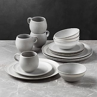 Pedra Artisan Dinnerware 16-Piece Set & Portugal Dinnerware | Crate and Barrel