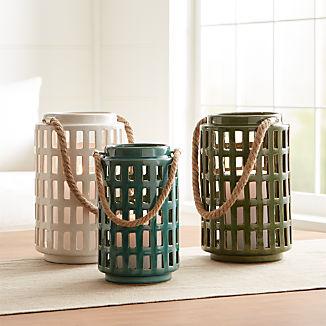 "Peek 10.75"" Ivory Ceramic Lantern"