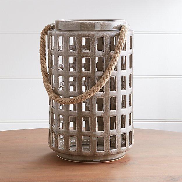 """Peek 14.75"""" Dark Grey Ceramic Lantern - Image 1 of 9"""