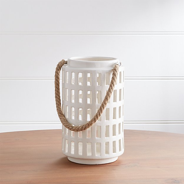"Peek 10.75"" Ivory Ceramic Lantern - Image 1 of 9"