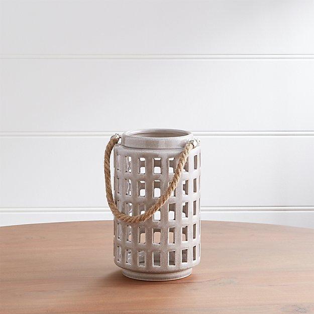 """Peek 9"""" Light Grey Ceramic Lantern - Image 1 of 9"""