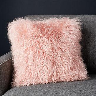 "Pelliccia Blush Pink Mongolian Sheepskin Pillow with Feather-Down Insert 16"""