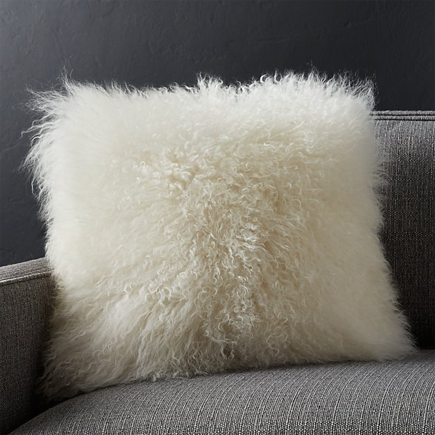 "Pelliccia Ivory 16"" Pillow with Feather-Down Insert"