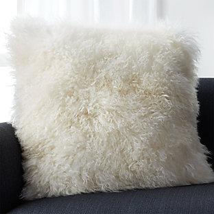 White Mongolian Lamb Pillow Crate And Barrel
