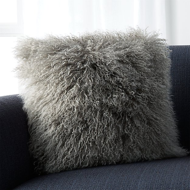 Mongolian Fur Silver Pillow Crate And Barrel