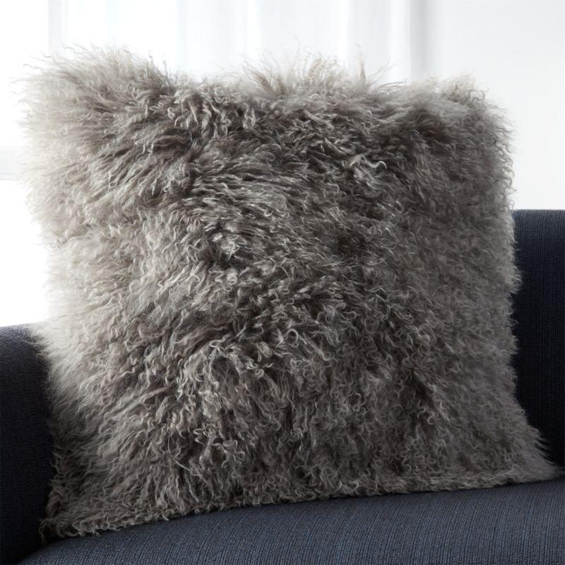 Mongolian Grey Fur Throw Pillow Crate and Barrel