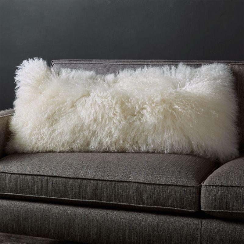 Pelliccia Ivory Mongolian Sheepskin Lumbar Pillow 36 Quot X16