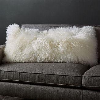 """Pelliccia Ivory Mongolian Sheepskin Lumbar Pillow 36""""x16"""""""