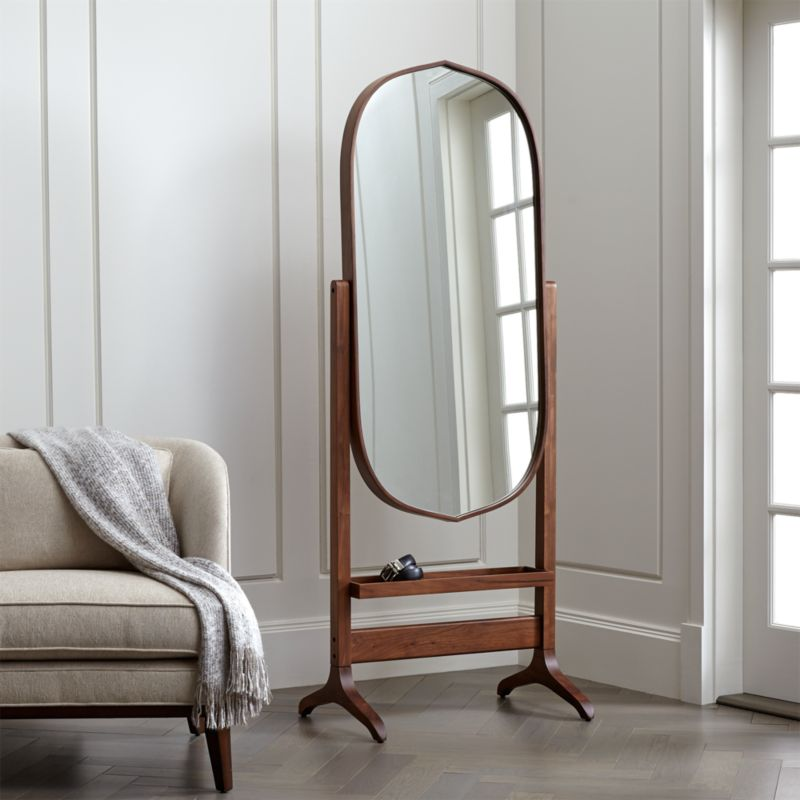Penarth Walnut Oval Floor Mirror Reviews Crate And Barrel
