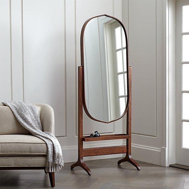 Penarth Walnut Oval Floor Mirror + Reviews | Crate and Barrel