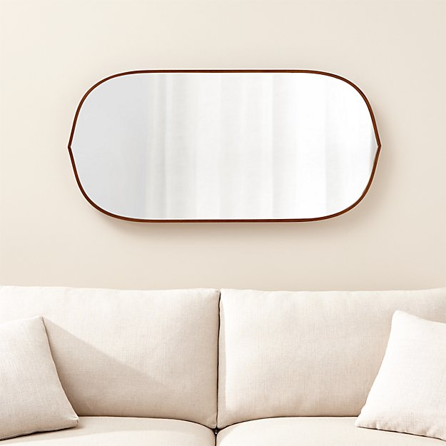 Bathroom Mirrors Crate And Barrel penarth walnut oval wall mirror | crate and barrel