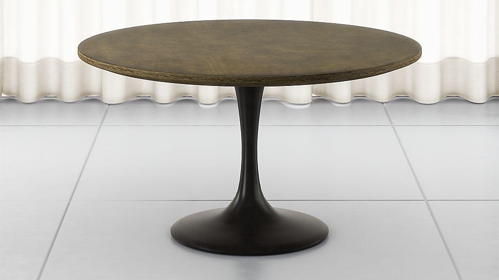 "Penn Patchwork Bronze 55"" Pedestal Base Dining Table - Image 1 of 5"
