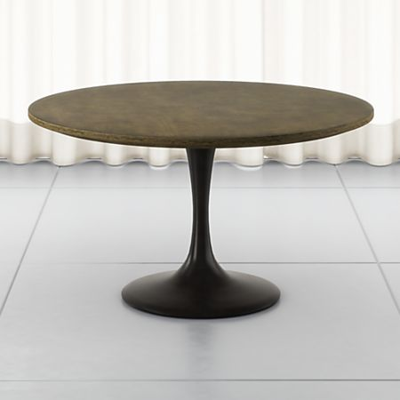 Penn Patchwork Bronze 55 Pedestal Base Dining Table Crate And Barrel