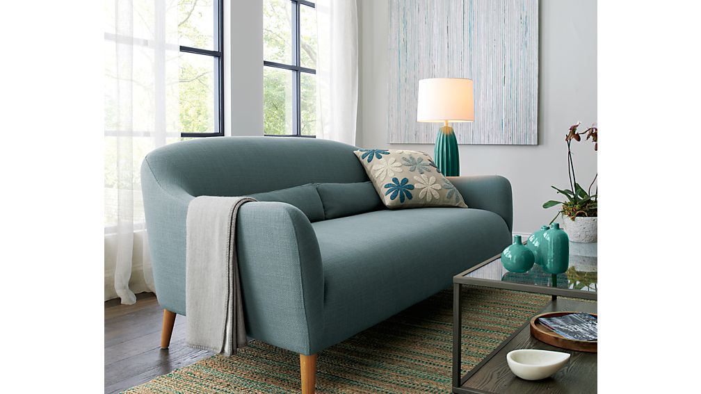 Pennie small blue sofa crate and barrel for Small blue sofa