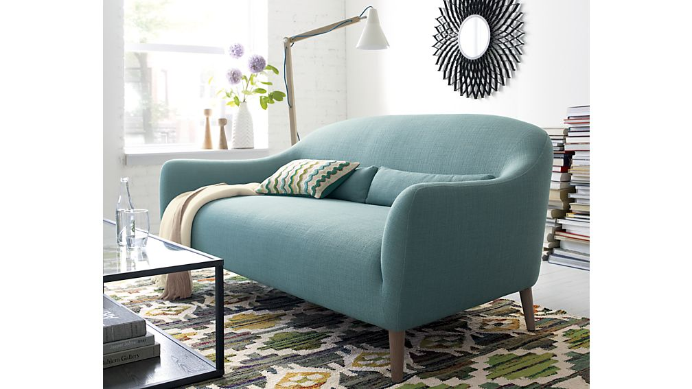 Pennie Small Blue Sofa | Crate and Barrel