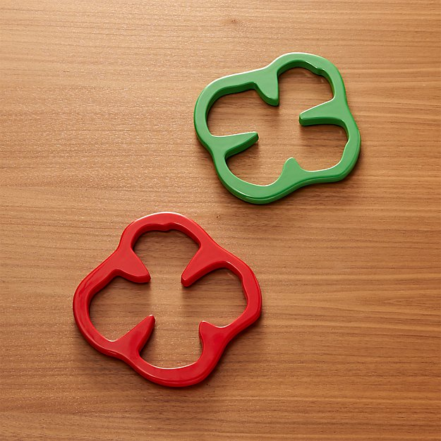 Red and Green Pepper Trivets Set of Two