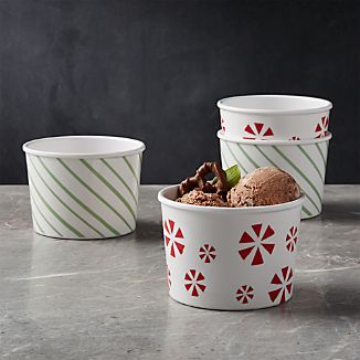 Peppermint Melamine Ice Cream Bowls, Set of 4