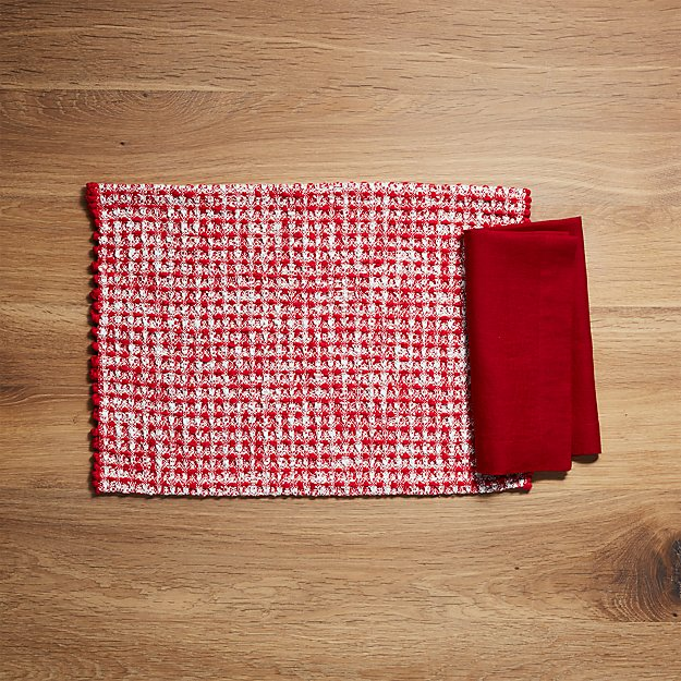 Peppermint Placemat and Helena Red Linen Napkin