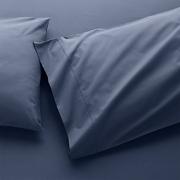 400 Thread Count Percale Indigo Pillow Cases Standard, Set of 2 - Image 1 of 4